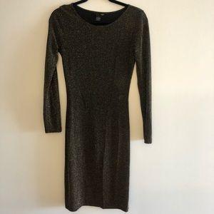 Aqua Black And Gold Knit Long Sleeve Dress L